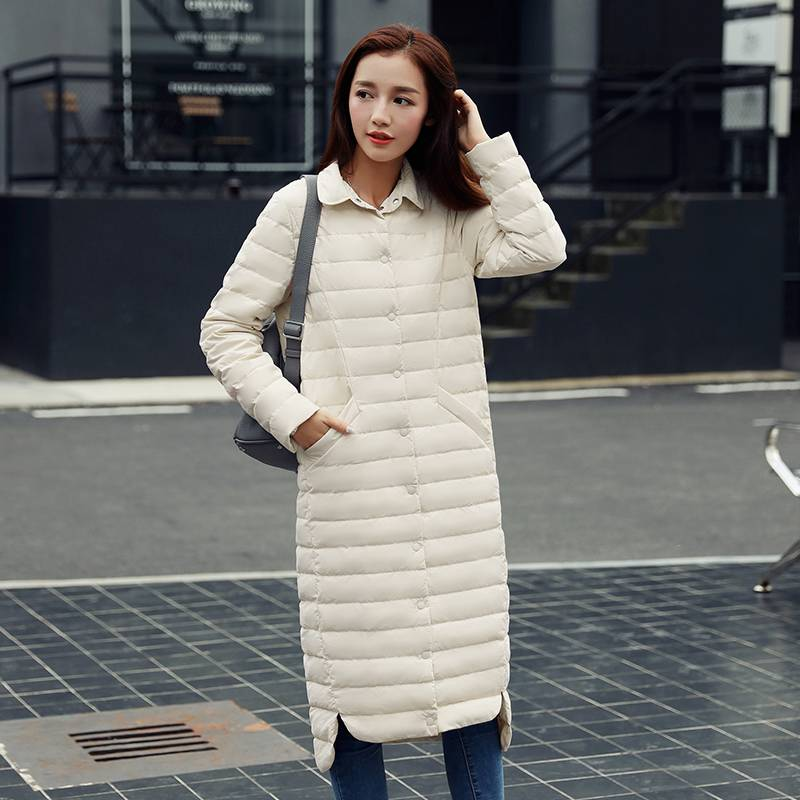 秋冬韩版加肥加大码中长款轻薄羽绒服女超长过膝修身收腰显瘦外套