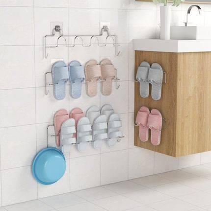 荣事达浴室拖鞋架壁挂式墙上置物架卫生间鞋架免打孔门后鞋架