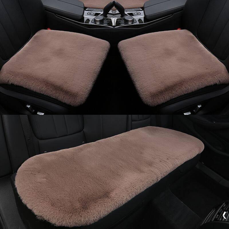 汽车坐垫冬季羊毛绒无靠背三件套毛绒兔毛保暖加厚冬天小三件座垫