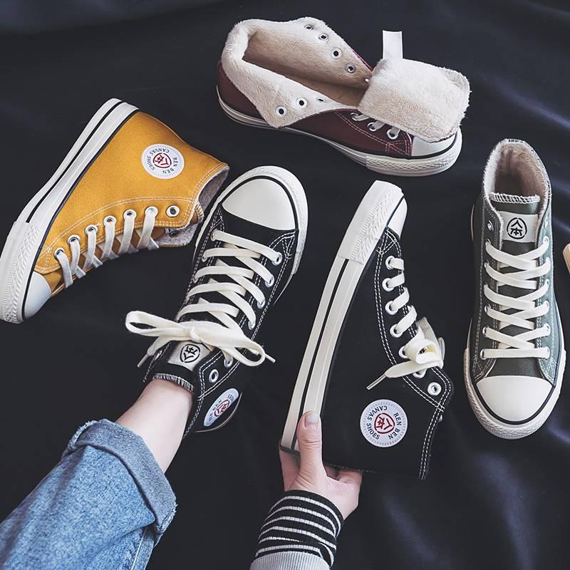 人本秋冬加绒高帮帆布鞋女2019新款棉鞋百搭二棉学生韩版复古潮鞋