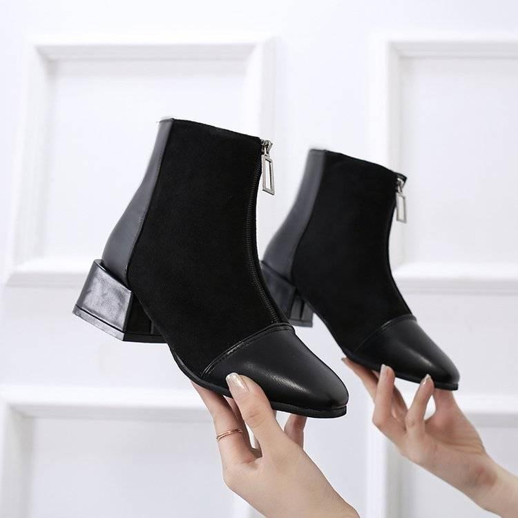 方头粗跟短靴女秋季单靴2019新款chic马丁靴女中跟ins网红短靴