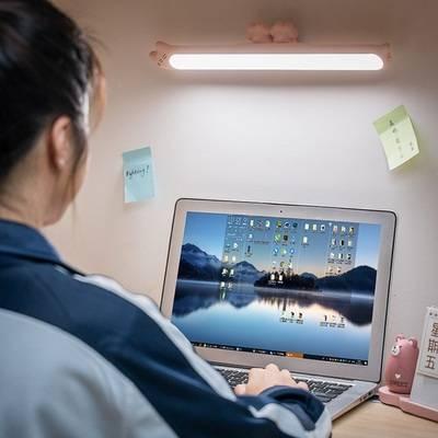 大学生宿舍寝室酷毙LED小台灯护眼书桌USB可充电款床上用灯管台风磁铁吸附插充电两用吸顶式床上悬挂儿童写字