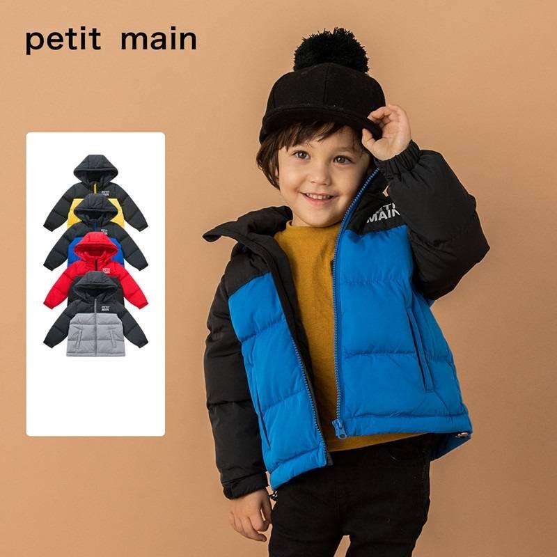 petitmain童装2019秋冬新款男童保暖外套时尚撞色加厚连帽羽绒服