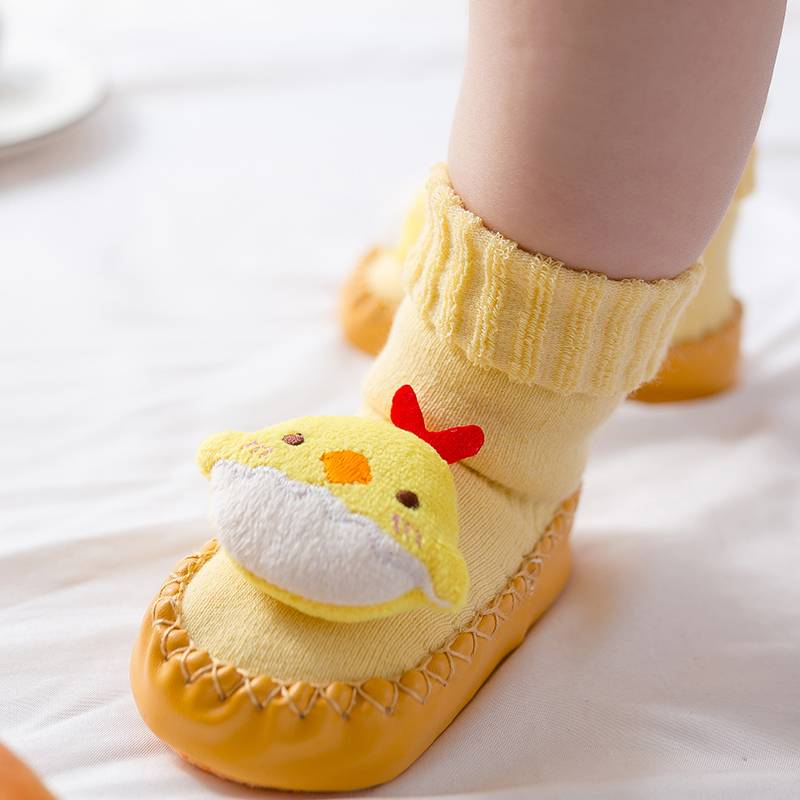 婴儿学步鞋袜秋冬季0防滑软底3月新生幼儿童1岁宝宝2加厚地板袜子