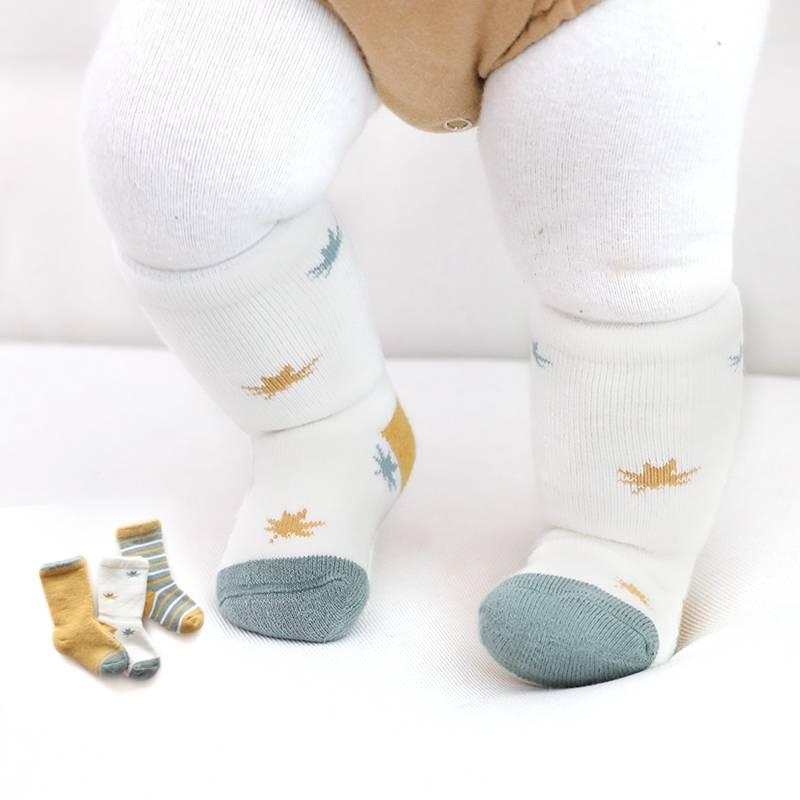 宝宝中筒袜子秋冬季0纯棉加厚保暖1岁男女新生幼儿童可爱婴儿高筒