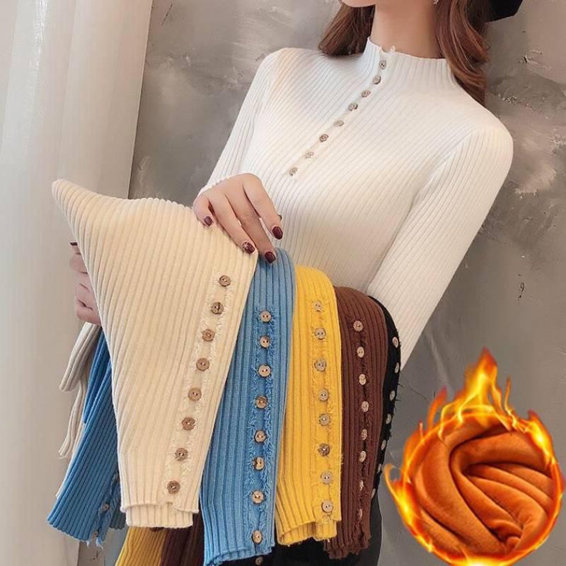 秋冬新款加绒/不加绒半高领毛衣女长袖内搭打底衫套头修身针织衫