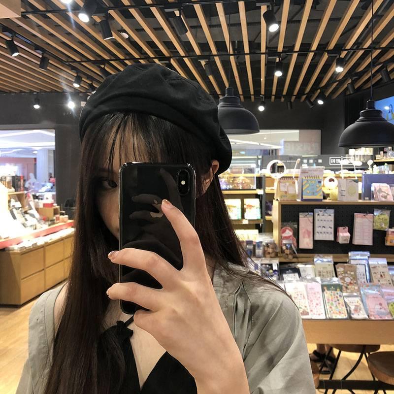 贝雷帽女日系夏季薄款透气复古文艺画家帽百搭纯黑色八角帽秋冬天