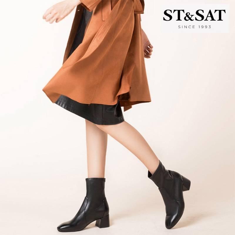 St&Sat/星期六鞋子女2019潮鞋网红瘦瘦靴短靴气质女靴SS94116478