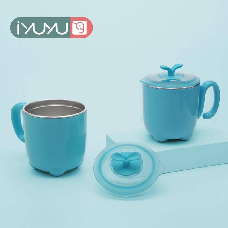 iyuyu 儿童水杯不锈钢水杯双层内胆分隔热水杯子防烫儿童杯子水杯