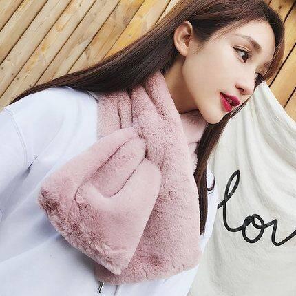 围脖女冬季韩版学生可爱毛绒围巾女加厚保暖长款百搭仿兔毛围脖套