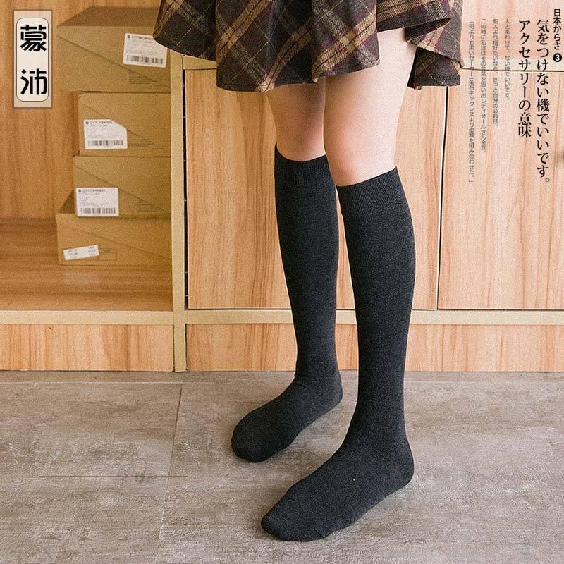 长筒袜子女过膝高筒ins街头潮春秋季黑色中筒学生小腿jk秋冬加厚