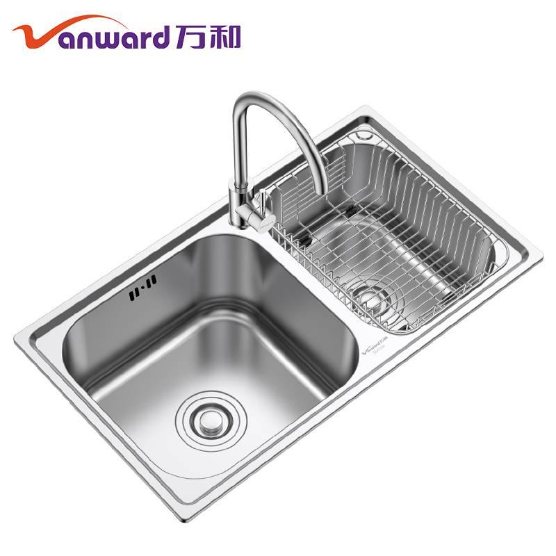 万和 厨房304不锈钢水槽双槽加厚洗菜盆洗碗池洗手盆双槽套餐家用
