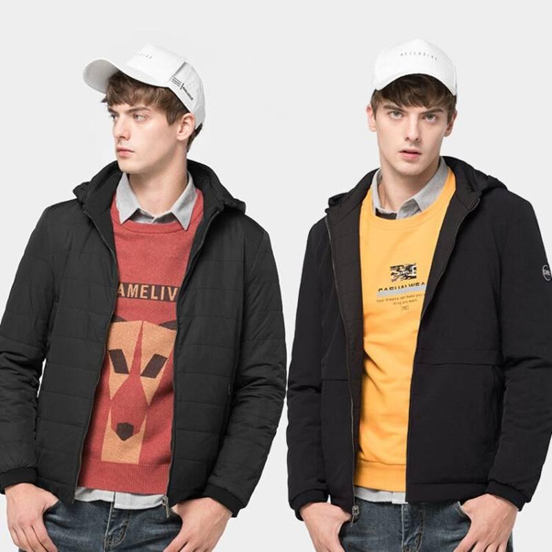 骆驼男装工装外套男冬季厚棉服棉袄潮青年韩版连帽夹克双面穿棉衣