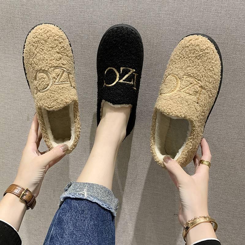 雪地靴女短筒2019新款冬季韩版百搭懒人鞋一脚蹬加绒厚底学生棉鞋