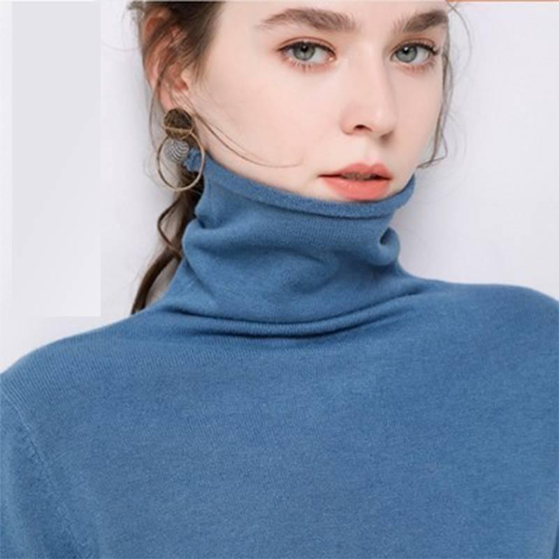 【品牌清仓】堆堆高领套头内搭打底针织宽松长袖秋冬纯色毛衣