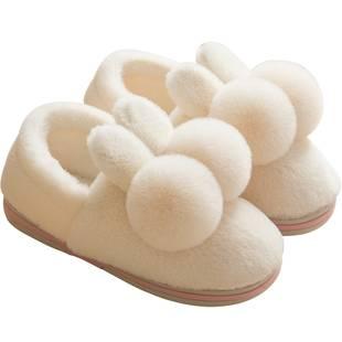 冬季情侣家居可爱包跟毛绒棉拖鞋