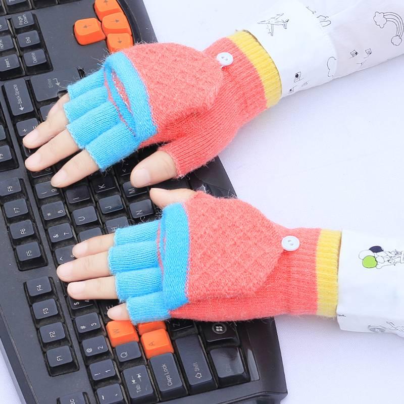 儿童手套半指翻盖女冬季男女童露指五指两用保暖小孩学生写字手套