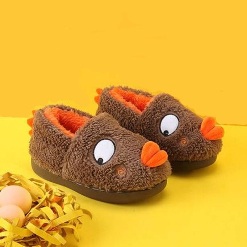 旺家小q儿童拖鞋秋冬女室内家居棉拖男1-2-3岁小宝宝棉鞋包跟冬天
