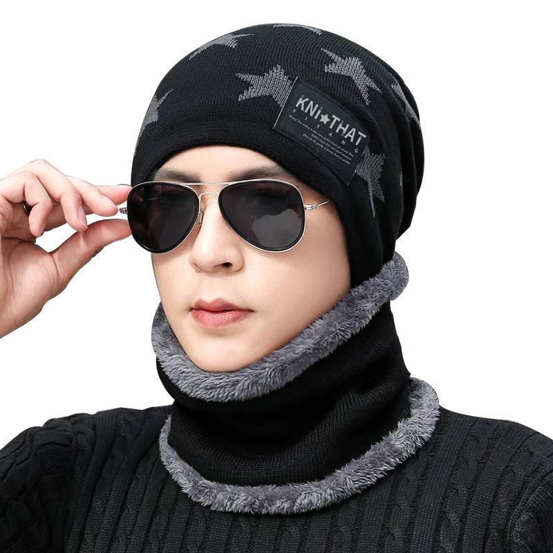 帽子男冬天保暖毛线帽加绒加厚针织帽韩版潮冬季男士骑车防寒棉帽