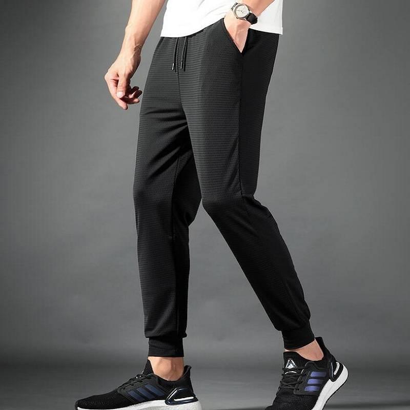 2020男士夏季冰丝速干裤超薄丝滑裤子九分休闲弹力宽松居家空调裤