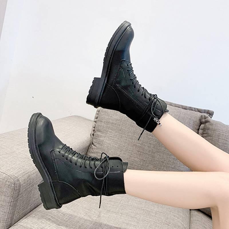 马丁靴女英伦风2019新款百搭春秋季单靴短筒厚底鞋秋款机车短靴子