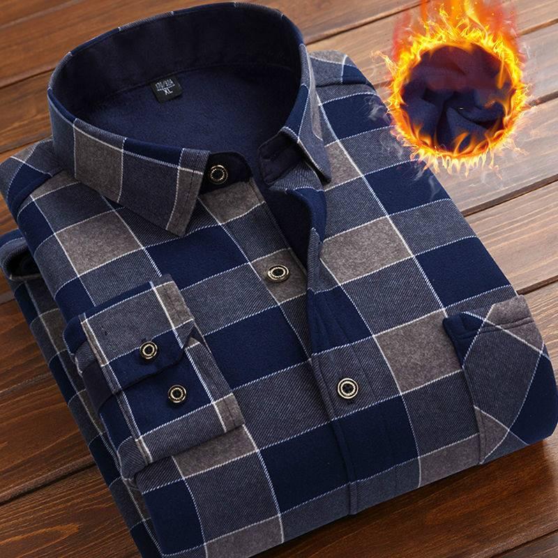 19秋冬季新款男士加绒加厚保暖衬衫长袖中老年格子衬衣男