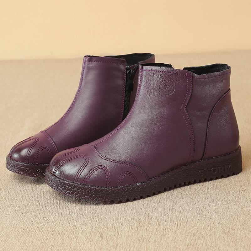 妈妈棉鞋真皮女冬加绒短靴中年软底保暖舒适休闲中老年人加厚平底