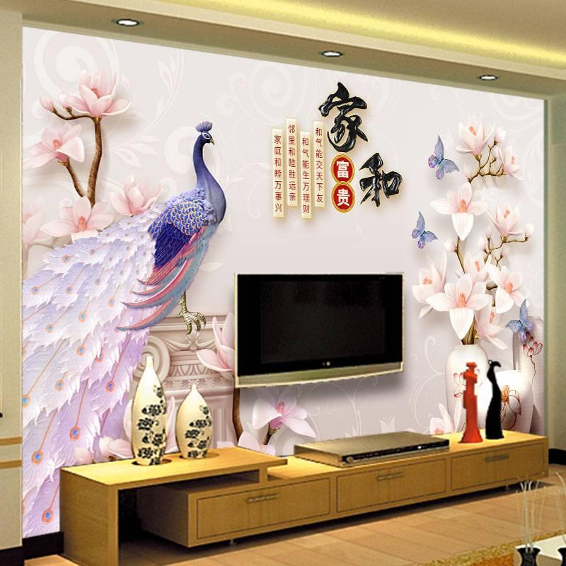电视沙发墙布背景墙壁纸客厅3d立体装饰画现代简约花草儿童卧室