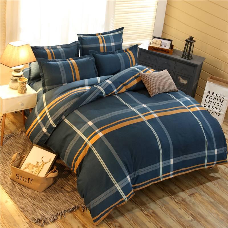 床上用品四件套全棉纯棉简约单双人床单被套磨毛婚庆结婚特价