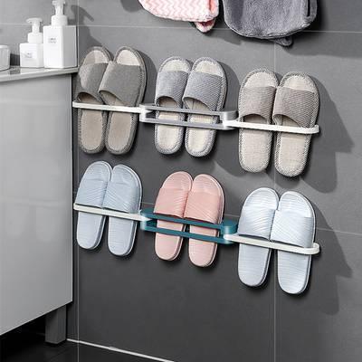 浴室可折叠拖鞋架毛巾月亮壁挂免打孔多功能式卫生间置物收纳神器