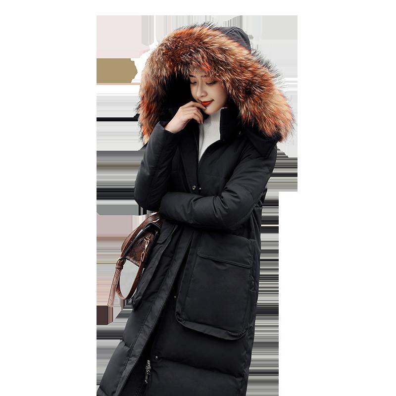 2019冬季新款羽绒服女装中长款韩版宽松白色加厚连帽大毛领外套潮