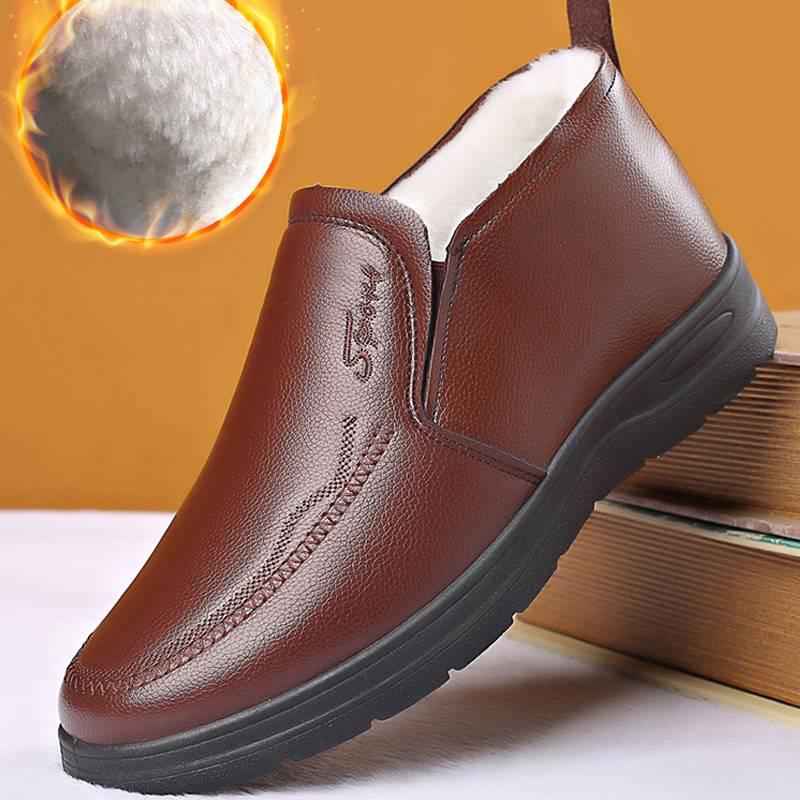 2019冬季新款男鞋商务休闲皮鞋加绒保暖棉鞋男士加厚二棉鞋子防滑