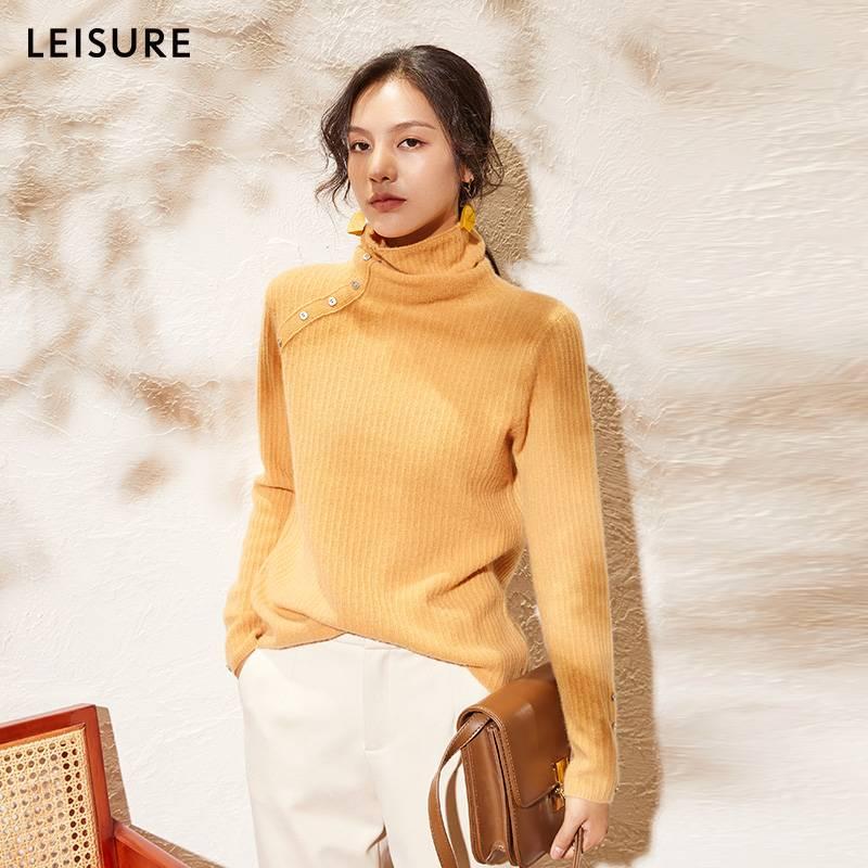 leisure丽雪2019冬高领针织衫女长袖时尚上衣女显瘦修身羊毛毛衣