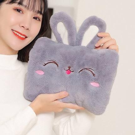 热水袋充电毛绒可爱卡通可拆洗冬季韩版新款抱枕暖手暖水袋暖宝宝