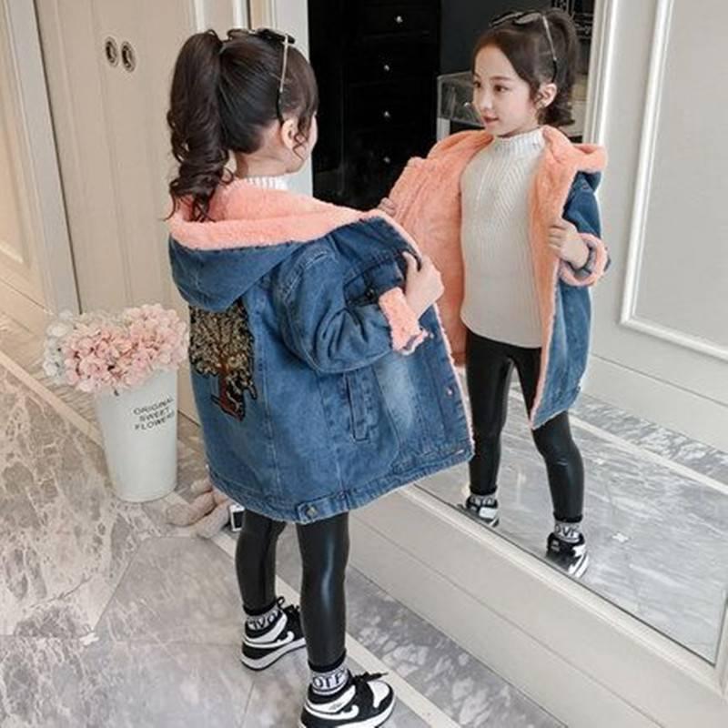 女童外套2019新款洋气时髦秋冬时尚加绒加厚潮女大童韩版牛仔冬装