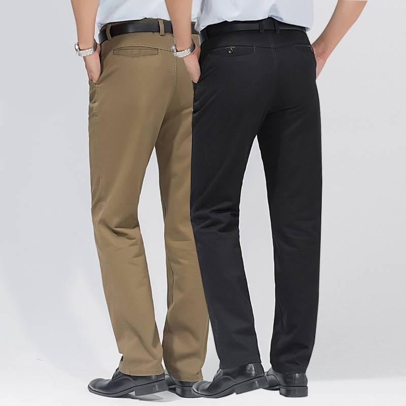 纯棉男士西装裤直筒加厚中年休闲裤