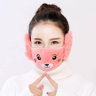 冬季保暖口罩女时尚韩版表情护耳二合一口罩骑行防风儿童