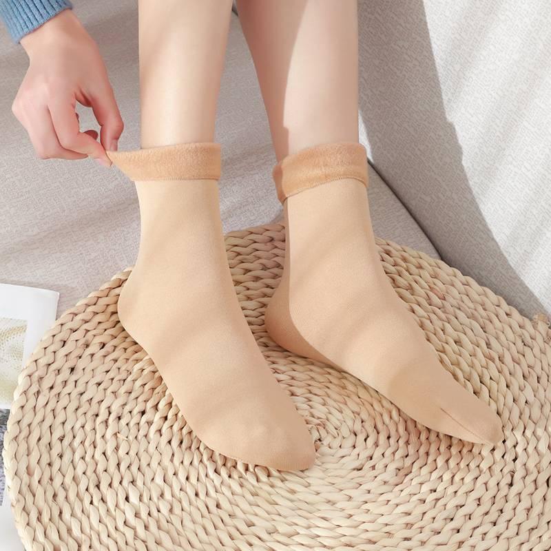 秋冬雪地袜子女中筒袜冬季肉色小腿保暖毛短袜露脚踝神器加绒加厚
