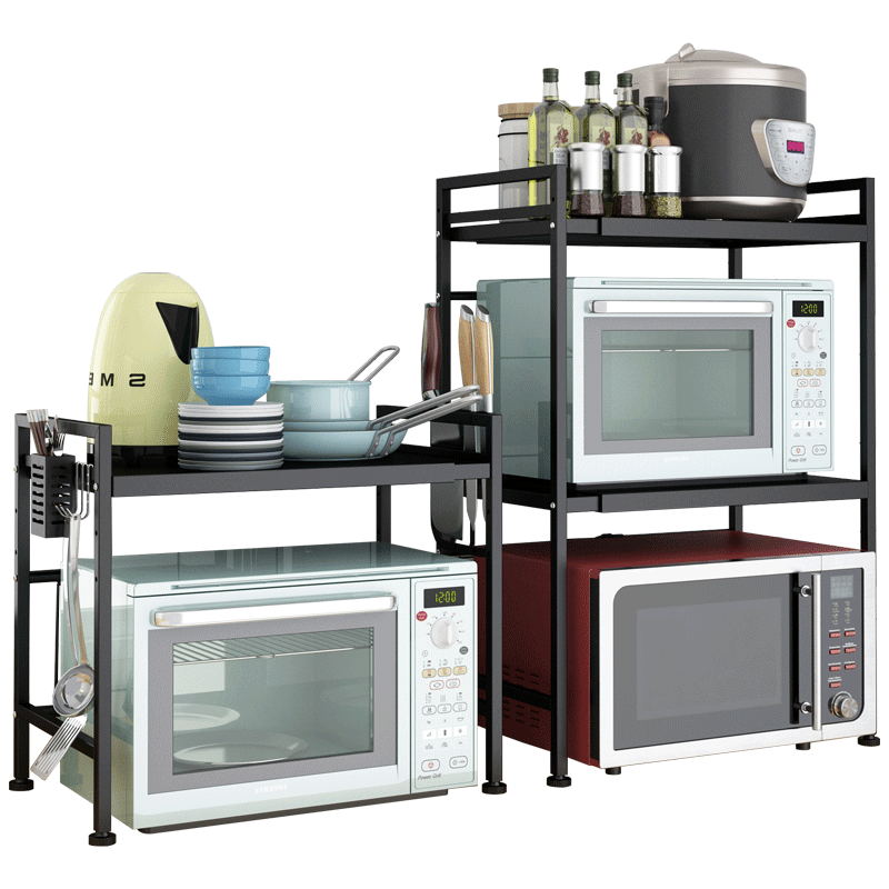 厨房置物架微波炉烤箱架落地多层电器置物架伸缩可调节家用收纳架