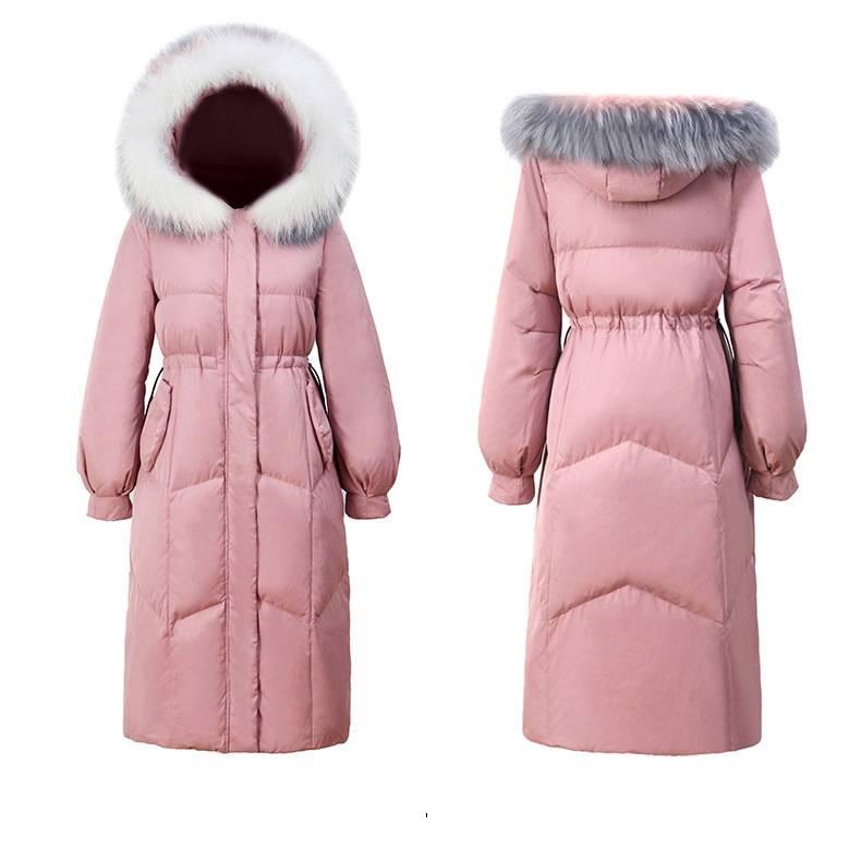 羽绒服女2019新款韩版加厚过膝白鸭绒中长款宽松冬季外套女潮