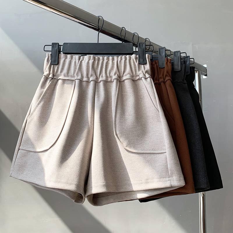 毛呢短裤女秋冬季高腰百搭阔腿网红新款配长靴子的短裤呢子靴裤潮