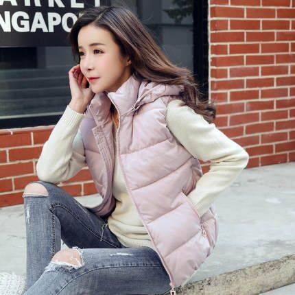 【可拆卸帽子】2019秋冬女士棉马甲短款显瘦羽绒棉背心外套潮G5