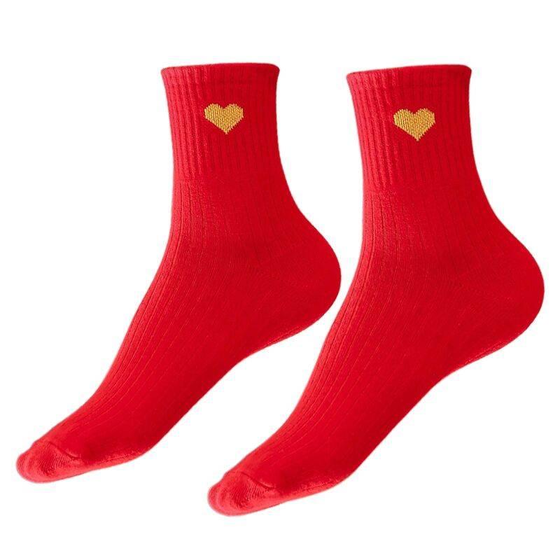 本命年中筒大红色袜子女男秋冬踩小人属鼠年纯短棉袜结婚情侣一对