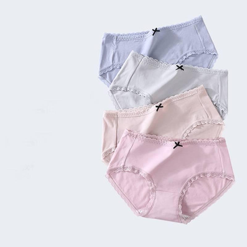 内裤女纯棉100%全棉裆透气日系简约蕾丝边中腰提臀少女士三角底裤