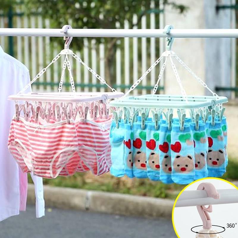成人防风晾衣架婴儿32夹子衣架儿童袜子架晾晒塑料多功能家用架