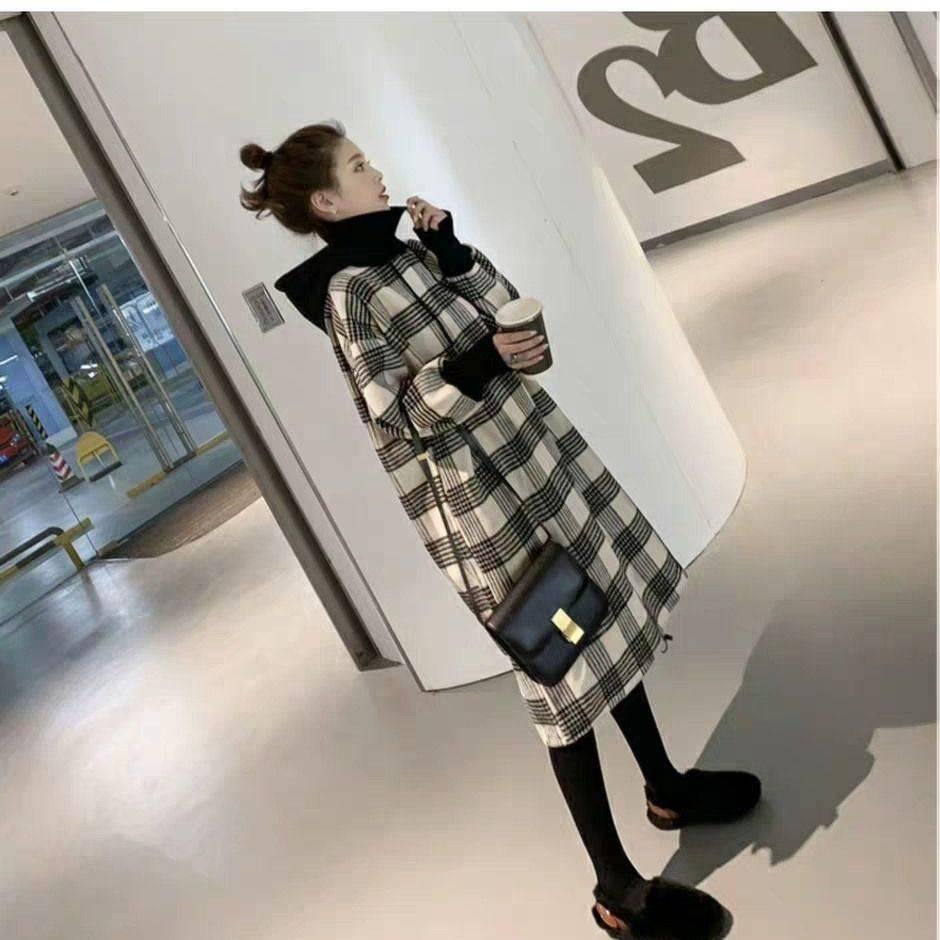 卫衣2019新款女韩版中长款宽松显瘦连帽假两件加绒卫衣裙秋冬外套