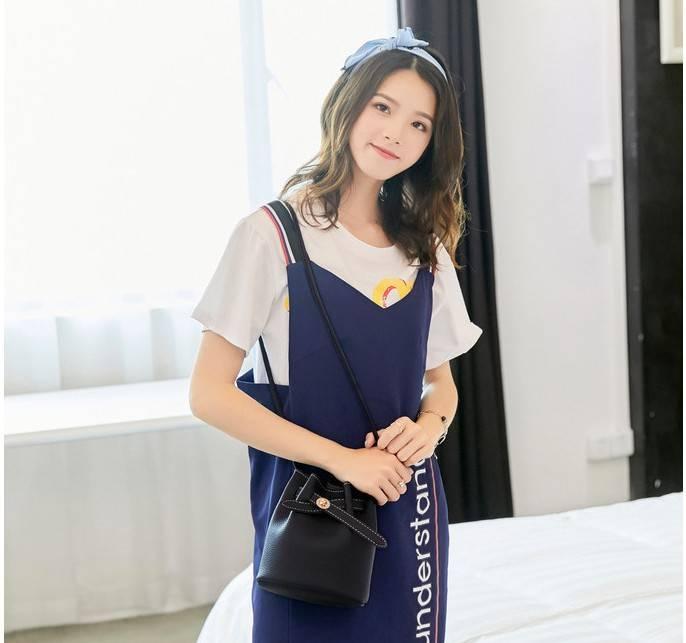 小包包女士2019上新款ins风潮时尚休闲单肩斜挎包水桶包