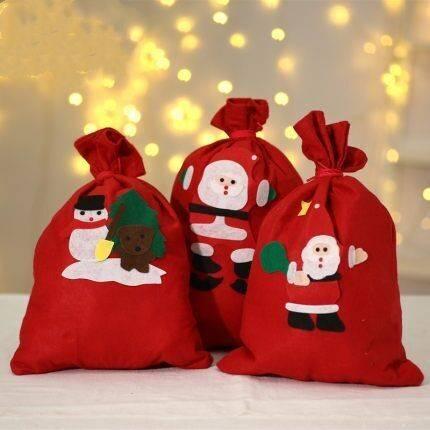 圣诞节装饰品圣诞老人背包袋平安夜苹果袋子礼物袋糖果袋手提袋