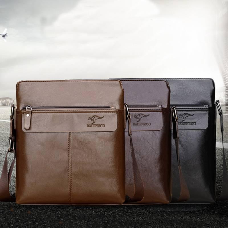 袋鼠男包单肩包潮流韩版牛皮男士斜挎包竖款斜跨皮包休闲背包挂包