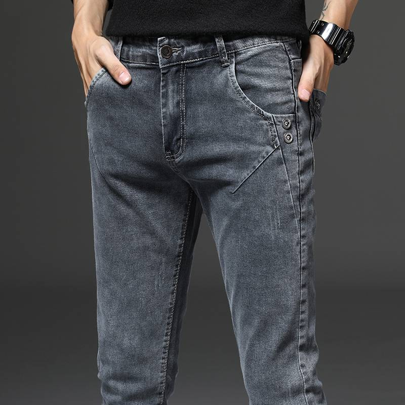 高端烟灰色牛仔裤男秋冬新款弹力潮牌修身小脚裤韩版潮流直筒长裤